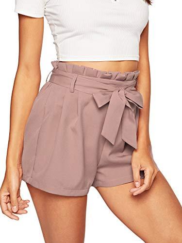 - SweatyRocks Women's Casual Elastic Waist Striped Summer Beach Shorts with Pockets (Large, Pink#2)