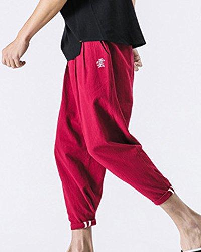 Rojo Harem Hombre Respirable Grandes Lino Suelto Anchos Pantalones De Tallas  Bordado qagU6gvw 4b6a722098b8