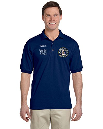US Air Force Personalized Custom Embroidered Men's Polo Shirt - Navy Blue