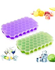 Ummit 2 Pack Ice Cube Trays, Flexible 74-Ice Silicone Trays with Spill-Resistant Removable Lid for Whiskey, Cocktails, Chilled Drinks, Baby Food (Green + Purple)