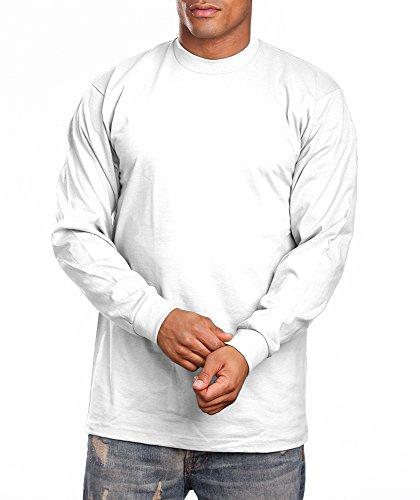 Pro White T-shirt - PRO 5 Super Heavy Mens Long Sleeve T-Shirt, Large, White