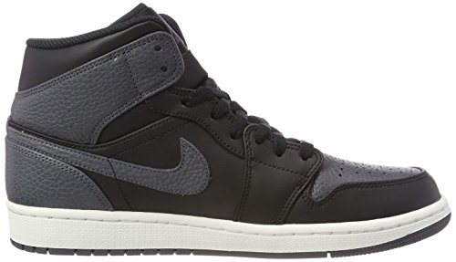 Nike Heren Air Jordan 1 Mid Basketbalschoen Zwart / Donker Grijs-top