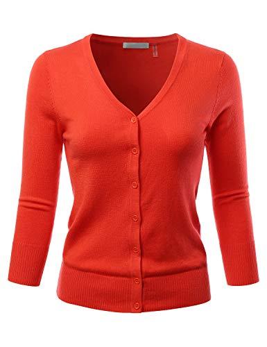 (EIMIN Women's 3/4 Sleeve V-Neck Button Down Stretch Knit Cardigan Sweater Fiesta M)