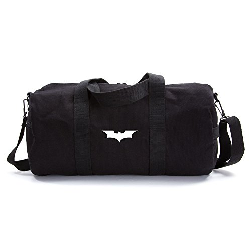 Batman Begins The Dark Knight Sport Heavyweight Canvas Duffel Bag in Black & White, Medium