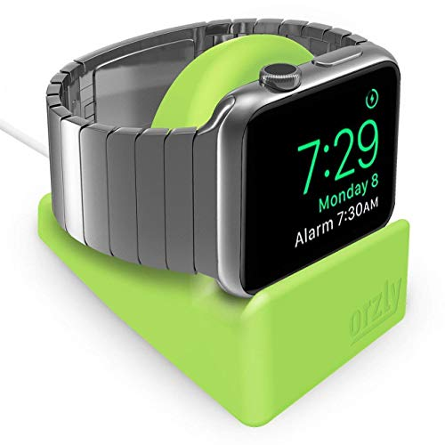 Orzly Compact Stand for Apple Watch - Nightstand Mode Compatible - GREEN Support Stand with Integrated Cable Management Slot (Compatible with both 38mm & 42mm Sizes) (Set It Off Band Phone Case)