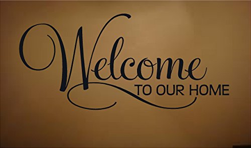 Welcome To Our Home Scroll Vinyl Wall 13x28 Window Decal Sticker Home Decor