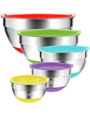 Mixing Bowls with Lids 5 Set Australia – Stainless Steel Silicone Non Slip Grip Base - Quality Colourful Prep Bowls for Salad, Baking, Kitchen, Cooking – Wedding Housewarming Gift - By Australian Business LyfeFx