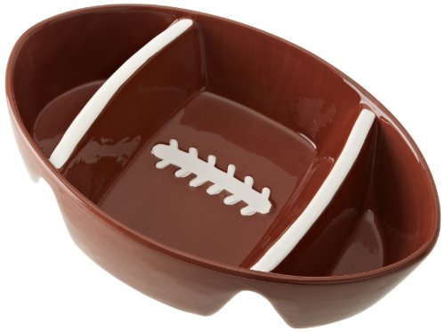 DII Game Day Football Ceramic 3-Section Dish