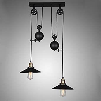 Jiayoujia retro industrial 2 pendant ceiling lights tray jiayoujia retro industrial 2 pendant ceiling lights tray adjustable height pulldown island mozeypictures Choice Image