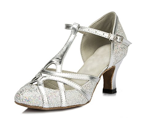 Minishion QJ6133 Women's Kitten Heel Silver Pleather Glitter Salsa Tango Ballroom Latin T-Strap Dance Shoes Wedding Pumps 9 M US by Minishion