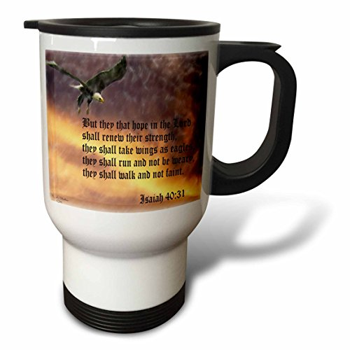 3dRose Isaiah 40-31 Bible Verse, Eagle Against a Troubled Sky, Stainless Steel Travel Mug, 14-Oz - Eagle Bible Cover