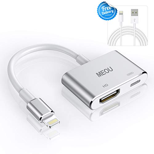 HDMI Adapter Converter Compatible iPhone X 8 7 6 5 iPad iPod HDMI Adapter Converter,Meou Digital AV Adapter, 2018 Latest Plug Play 1080P Audio AV Connector (Charging Cable is Included)