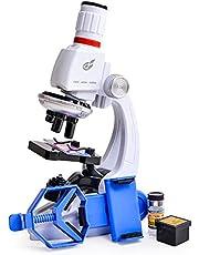 Queenser macacão infantil para microscópio com suporte para telefone celular Simulação 1200 vezes Microscópio Brinquedos educacionais e científicos Kit de microscópio