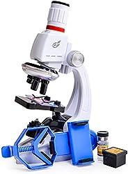 Queenser macacão infantil para microscópio com suporte para telefone celular Simulação 1200 vezes Microscópio