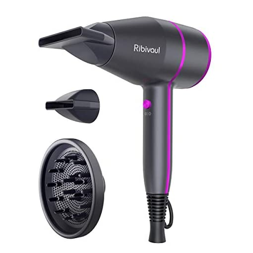 - 41ZUueSpcgL - Ionic Hair Dryer Ribivaul Powerful 1875 Watt Hairdryer 2 Speed 3 Heating Salon & Home Use Blow Dryer for Fast Drying Styling Negative Pro Ion Blower with Diffuser Concentrator Comb Portable Size