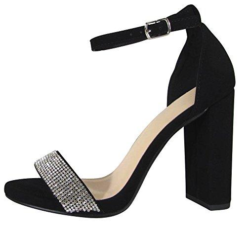 Cambridge Selezionare Donna Open Toe Fascia Singola Cristallo Strass Glitter Cinturino Alla Caviglia Grosso Blocco Tacco Sandalo Nero Nbpu