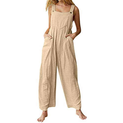 TIFENNY Cotton Linen Rompers for Women Straight Sleeveless Square Neck Pockets Button Wide Leg Loose Jumpsuit Beige -