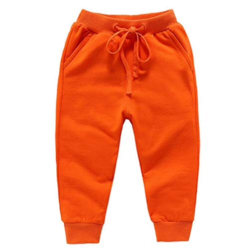 Bfsports Unisex Kids Solid Cotton Drawstring Waist Pants Toddler Baby Active Sweatpants Orange 90cm by Bfsports