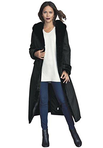 Roamans Women's Plus Size Faux Fur Lined Raincoat Black,1X by Roamans