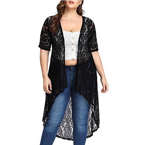 (Plus Size Lace Cardigan for Women Long Loose Shawl Kimono Top Cover Up Beachwear Black)