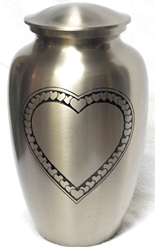 Ansons Urns Cremation Urn – Large Heart Funeral Urn for Human Ashes – Burial urn with Detailed Engraving – 100 Brass Silver