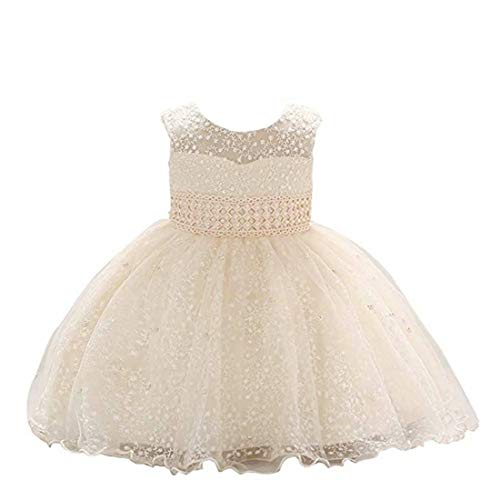 Baby Girls Short Sleeve Wedding Prom Party Ball Gown Dresses (Champagne,70)