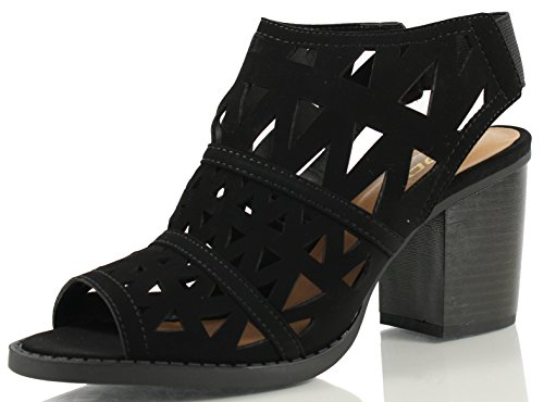 Delicious Women's Fashion Faux Nubuck Leather Cutout Geometric Slingback Stacked Heel Ankle Boot