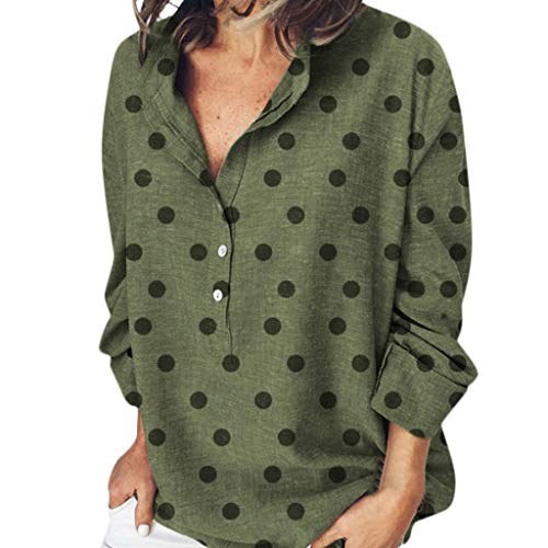 〓COOlCCI〓Womens Casual Loose Boho V Neck Roll-up Sleeve Blouse Button Down Shirts Tops Blouses Green