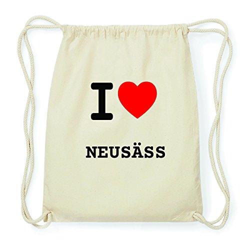 JOllify NEUSÄSS Hipster Turnbeutel Tasche Rucksack aus Baumwolle - Farbe: natur Design: I love- Ich liebe