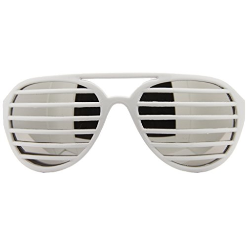 Aviator Pilot Shutter Party Club Sunglasses Mirror Lens (White, Silver - Shutter Shades With Lenses