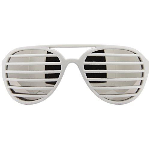 Aviator Pilot Shutter Party Club Sunglasses Mirror Lens (White, Silver - Cruise Shades Tom Aviator