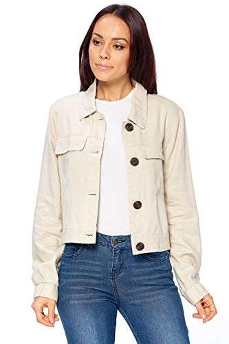 (Ci Sono Women's Button Down Summer Spring Light Weight 2 Front Pocket Linen Jacket (M, Coffee))