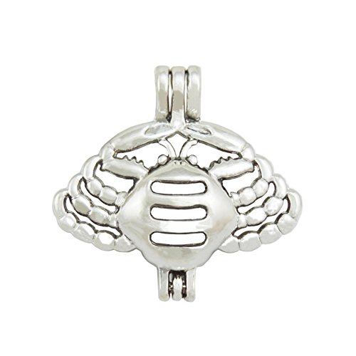 - 10 Pcs Crab Jewelry Making Supplies Alloy Bead Cage Locket Pendant -Cancer Zodiac Constellation Series -Add Pearls,Stones,Perfume & Essential Oils to Create a Scent Diffusing Locket Pendant Charms