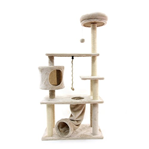 CUPETS Cat Tree Cat Climber Kitten Activity Tower Condo Multi Level Pet Play House with Scratching Post and Slide Activity Tree Pet Products for Cats 55 Inches High ()