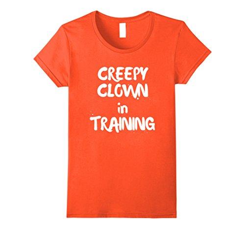 Family Friendly Womens Halloween Costumes (Womens Creepy Clown in Training Halloween Tshirt Family Friendly Medium Orange)
