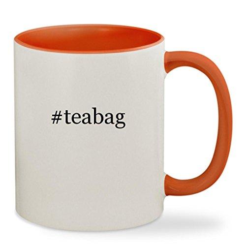 Assam 4 Cup Tea Press (#teabag - 11oz Hashtag Colored Inside & Handle Sturdy Ceramic Coffee Cup Mug, Orange)