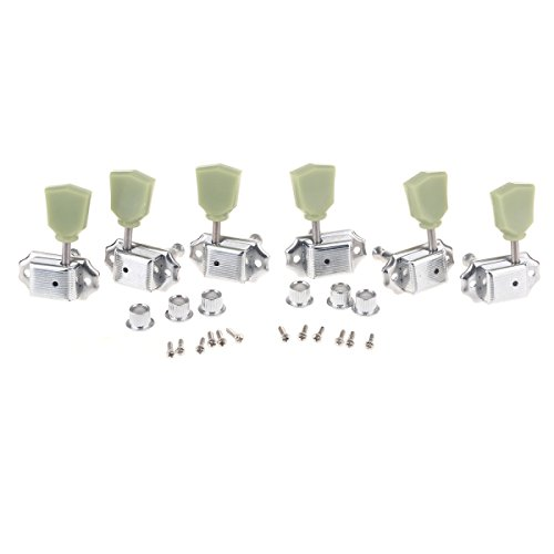Gibson Vintage Guitar Parts - Musiclily 3R3L Vintage Guitar Tuners Machine Heads Tuning Keys Pegs Set for Gibson Les Paul LP Epiphone Guitar Parts, Chrome with Keystone Button