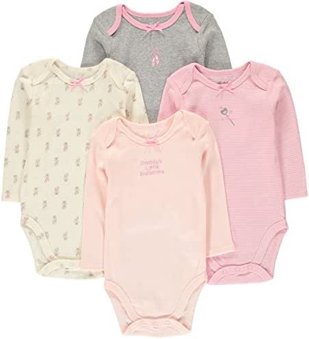 Wan-A-Beez 4 Pack Baby Girls' and Boys' Long Sleeve Bodysuits