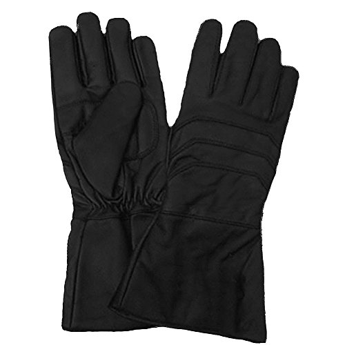 Black Motorcycle Leather Gauntlet Gloves Plain XL