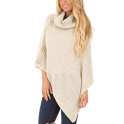 Vicbovo Clearance Sale Womens Chic Turtleneck Cable Knit Button Sweater Poncho Capes Cardigan Pullover Tops(Khaki,XL)