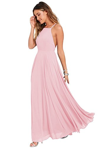 Women's Halter Chiffon Long Evening Prom Dress Backless Formal Party Gown Size 4 Pink