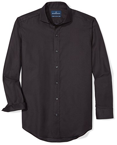 BUTTONED DOWN Men's Tailored Fit Supima Cotton Cutaway-Collar Dress Casual Shirt, Black, 16-16.5