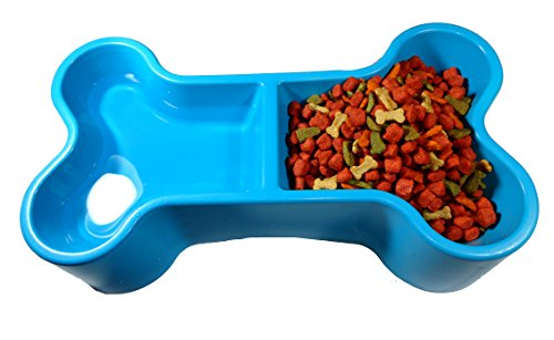 Small Plastic Dog Food Bowl, Bone shape, Easy to use, Durable strong, For food with water. (blue) 1 piece