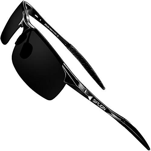 SIPLION Men's Driving Polarized Sport Sunglasses Al-Mg Metal Frame Ultra Light 8177 ()