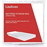 Lauliven [2-Pack] 4 Mil Thick Mattress Bag for Moving, Storage and Disposal, Heavy Duty Mattress Cover - Queen Size