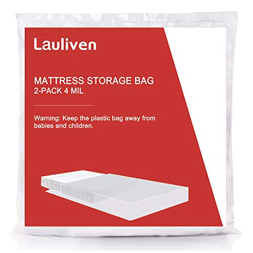 (Lauliven [2-Pack] 4 Mil Thick Mattress Bag for Moving, Storage and Disposal, Heavy Duty Mattress Cover - Twin XL Size)