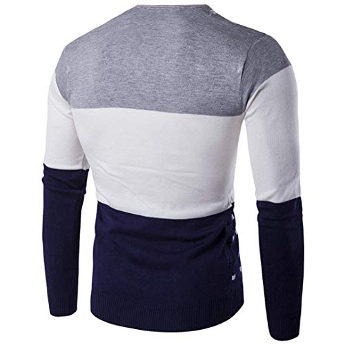 Knitted Mieuid Chic Grau For Cotton Sleeve Men Long Pullover xxwHCqtvB