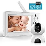 Bable Baby Monitor with Camera, 5 Inch 720P Video Baby Monitor with Infrared Night Vision Camera, Remote Control/Pan 360˚ & Tilt 90˚/ Temperature Monitor/Two-Way Talk/Sound Alarm/Up to 900 feet For Sale