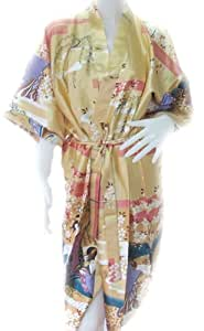 NICE BATHROBE JAPANESE LADY KIMONO WOMEN'S SATIN SILK ROBE-ONE SIZE