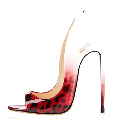 Elashe Slingback Da Caviglia Fibbia Rosso Donna Con Cinturino Spillo Tacco Scarpe A Leopardo Peep Toe Sandali rXw5grnqx7